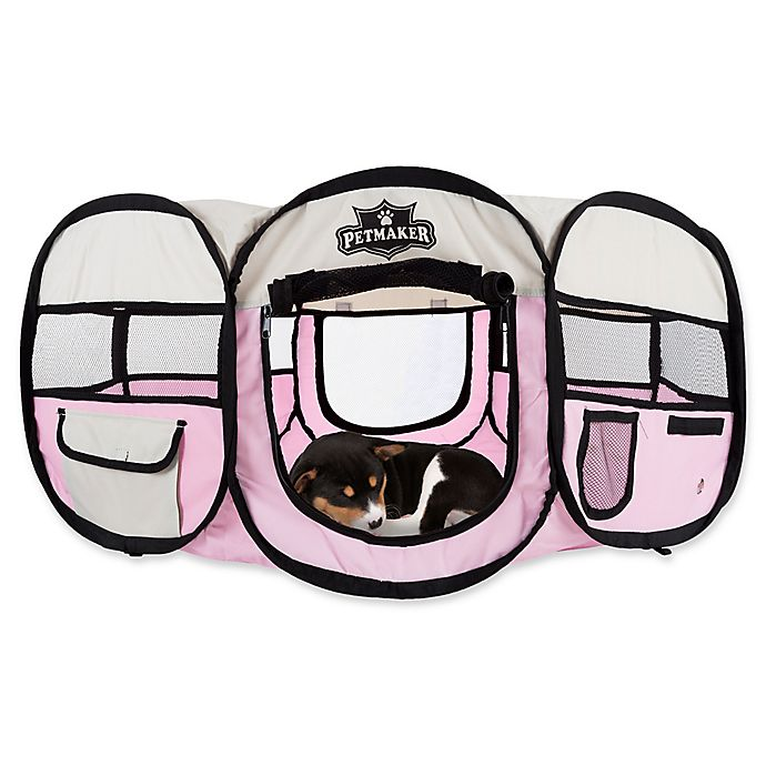 Alternate image 1 for Petmaker 33-Inch Portable Pop Up Pet Play Pen with Carrying Bag in Pink