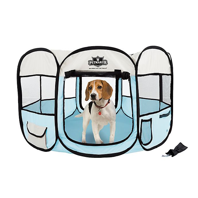 Alternate image 1 for Petmaker 38-Inch Portable Pop Up  Pet Play Pen with Carrying Bag in Blue