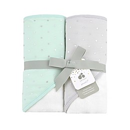 Just Born® Sparkle 2-Pack Hooded Towels in Mint