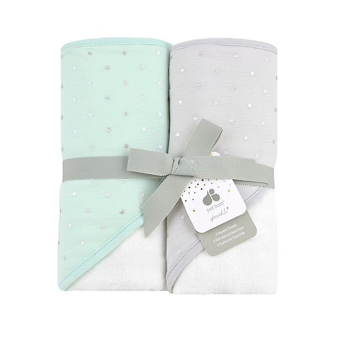 Alternate image 1 for Just Born® Sparkle 2-Pack Hooded Towels in Mint