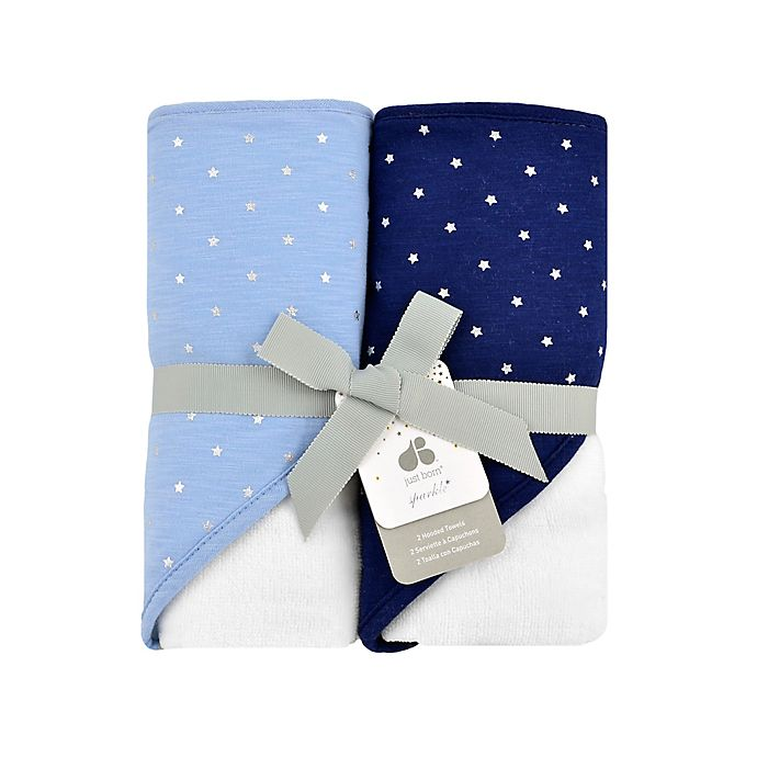 Alternate image 1 for Just Born® Sparkle 2- Pack Hooded Towels in Navy