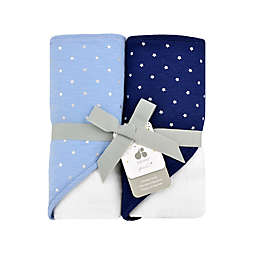 Just Born® Sparkle 2- Pack Hooded Towels in Navy