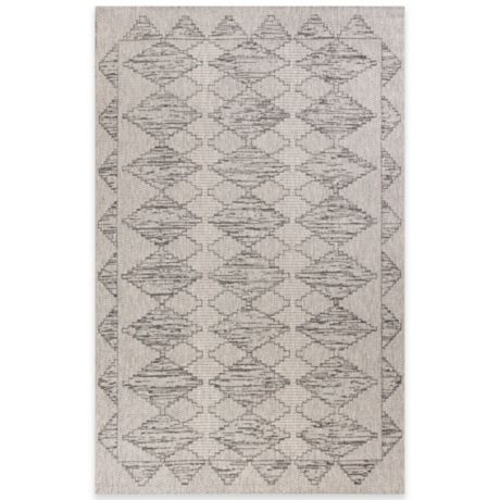 Kas Farmhouse Boho Indoor Outdoor Rug In Grey Bed Bath