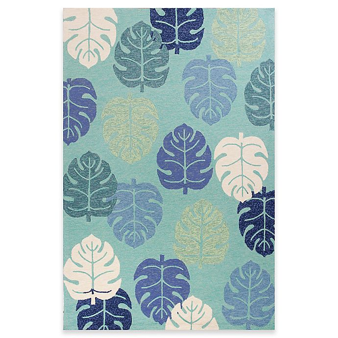 Alternate image 1 for KAS Harbor Palms 2-Foot x 3-Foot Indoor/Outdoor Accent Rug in Turquoise