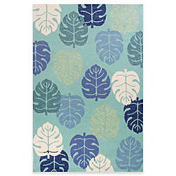 KAS Harbor Palms 5-Foot x 7-Foot 6-Inch Indoor/Outdoor Area Rug in Turquoise