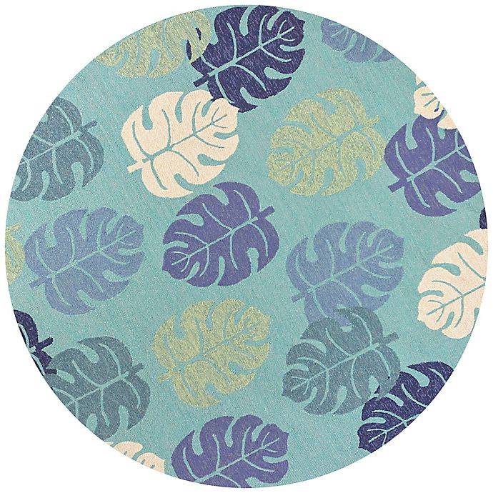 Alternate image 1 for KAS Harbor Palms 7-Foot 6-Inch Round Indoor/Outdoor Area Rug in Turquoise