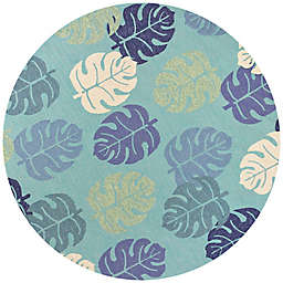 KAS Harbor Palms 7-Foot 6-Inch Round Indoor/Outdoor Area Rug in Turquoise