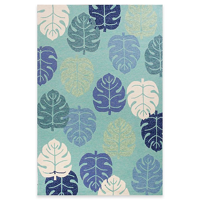 Alternate image 1 for KAS Harbor Palms 7-Foot 6-Inch x 9-Foot Indoor/Outdoor Area Rug in Turquoise