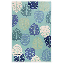 KAS Harbor Palms 7-Foot 6-Inch x 9-Foot Indoor/Outdoor Area Rug in Turquoise