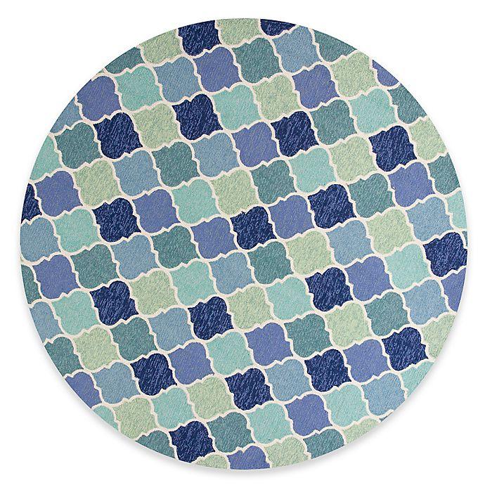 Alternate image 1 for KAS Harbor Stella 7-Foot 6-Inch Round Indoor/Outdoor Area Rug in Blue