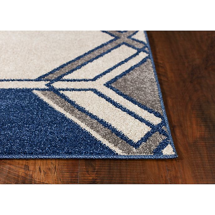 Alternate image 1 for KAS Lucia Grant Indoor/Outdoor Rug in Ivory/Denim