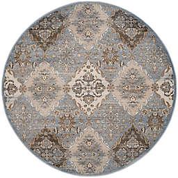 Safavieh Vintage Clarissa 6-Foot 7-Inch Round Area Rug in Light Blue /Ivory
