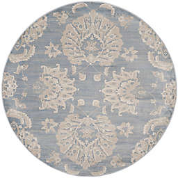 Safavieh Vintage Guiliana 6-Foot 7-Inch Round Area Rug in Light Blue/Ivory
