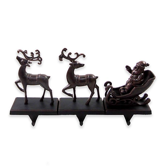 Alternate image 1 for 3-pack Reindeer with Sleigh Stocking Hangers