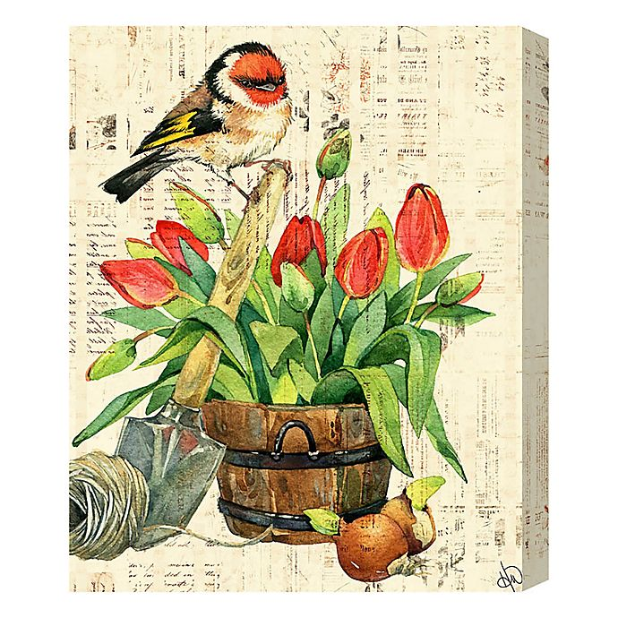 Alternate image 1 for Garden Bird & Red Tulips 16-Inch x 20-Inch Canvas Wall Art