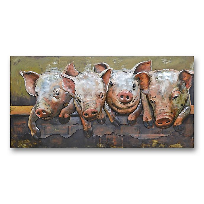 Alternate image 1 for Pig Party 47-Inch x 24-Inch Metal Wall Art