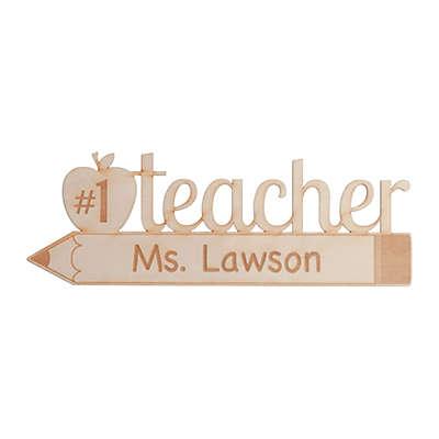 Number One Teacher Wood Plaque Wall Art
