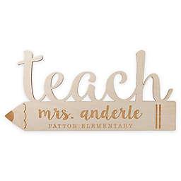 Teacher 15-Inch x 12-Inch Personalized Wood Wall Art
