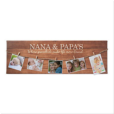 Grandparents Personalized Clothespin Display Wall Art