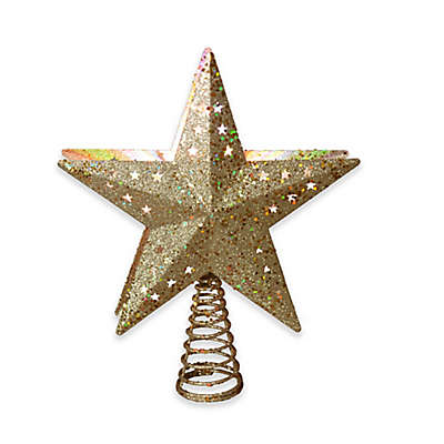 12.5-Inch Star Projection Tree Topper in Gold