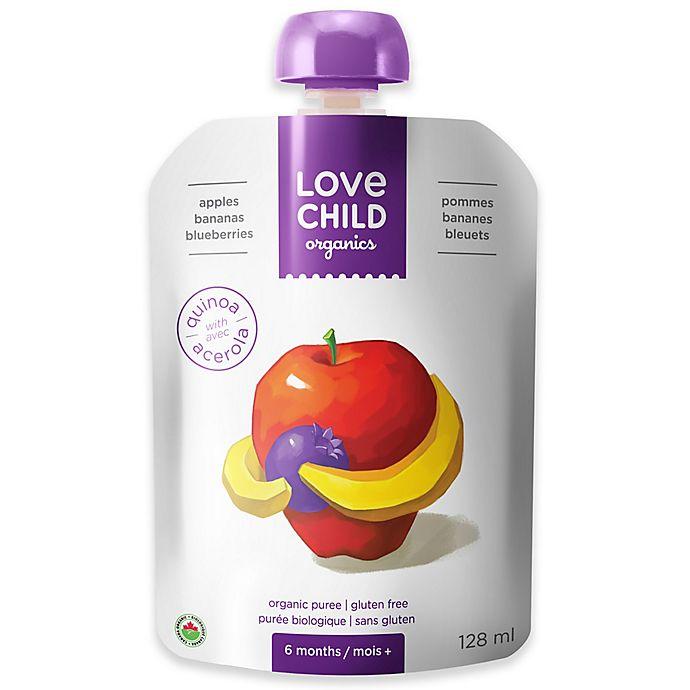 Alternate image 1 for Love Child Organics 4.3 oz. Apples, Bananas & Blueberries Baby Food Puree