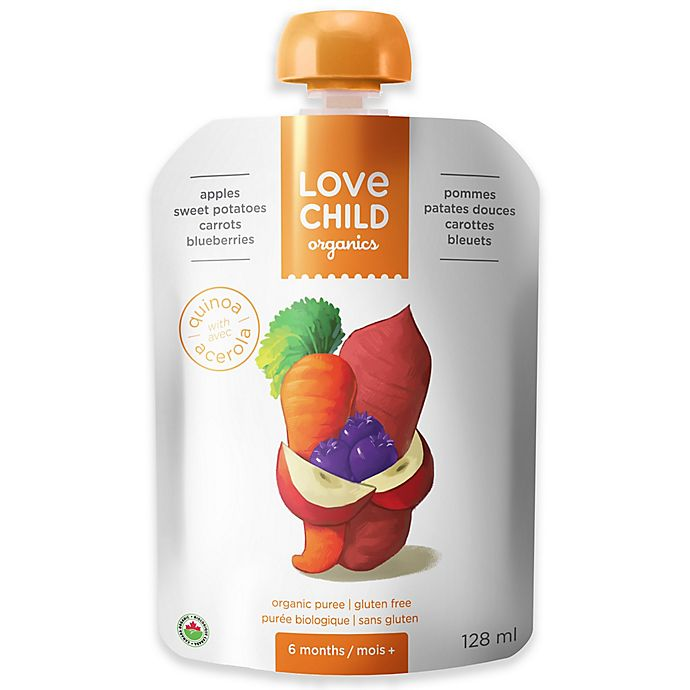 Alternate image 1 for Love Child Organics 4.3 oz. Apples, Sweet Potatoes, Carrots & Blueberries Baby Food Puree