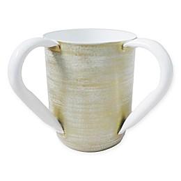 Classic Touch Mundane Ceramic Wash Cup in Gold/White