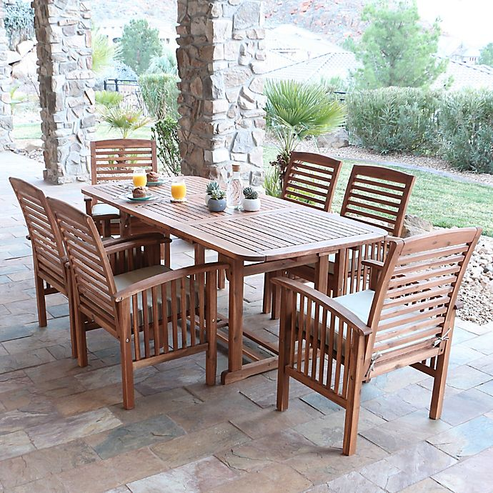Forest Gate Eagleton 7 Piece Acacia Patio Dining Set With Cushions Bed Bath Beyond