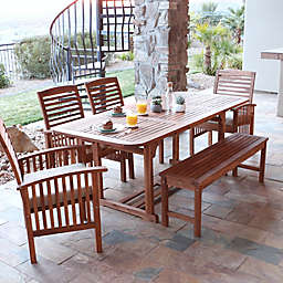 Forest Gate Eagleton Patio 6-Piece Acacia Wood Dining Set with Beige Cushions