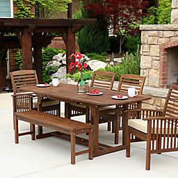 Forest Gate Eagleton 6-Piece Acacia Patio Dining Set with Cushions in Dark Brown