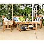Forest Gate Eagleton Patio 4-Piece Light Acacia Wood Conversation Set with Beige Cushions