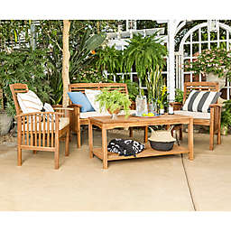 Forest Gate Eagleton Patio 4-Piece Acacia Wood Conversation Set with Beige Cushions