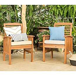 Forest Gate Eagleton Acacia Wood Patio Chairs with Cushions (Set of 2)