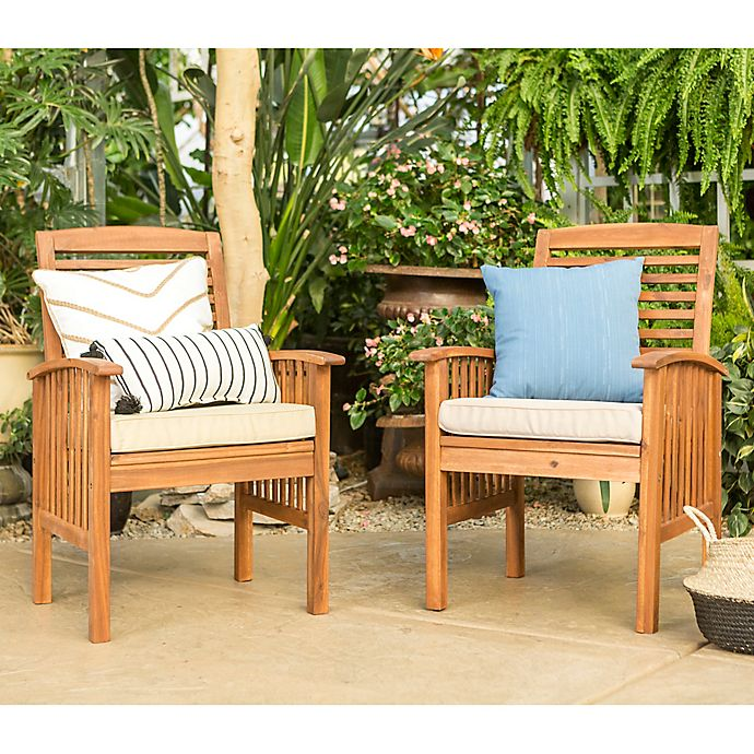 Forest Gate Eagleton Acacia Wood Patio Chairs With Cushions Set Of