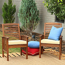 Forest Gate Eagleton Acacia Wood Patio Chairs with Cushions in Dark Brown (Set of 2)