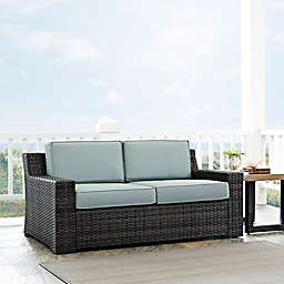 Crosley Beaufort Outdoor Wicker Loveseat with Mist Cushions