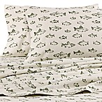 Eddie Bauer® School of Fish King Flannel Sheet Set in Green/Ivory
