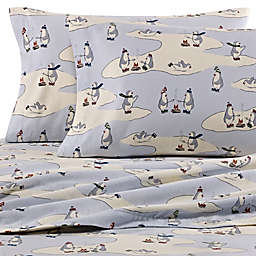 Eddie Bauer® Skating Penguins Flannel Sheet Set