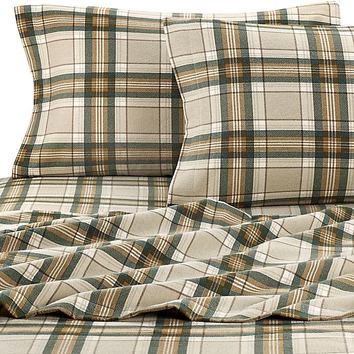 Alternate image 1 for Eddie Bauer® Edgewood Plaid Flannel Queen Sheet Set in Green