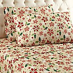 Micro Flannel® Poinsettia Print Queen Sheet Set in Yellow/Red