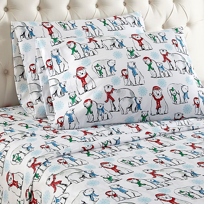 Alternate image 1 for Micro Flannel® Polar Bear Print Sheet Set