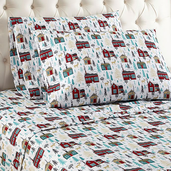 Alternate image 1 for Micro Flannel® Cabin Print Queen Sheet Set