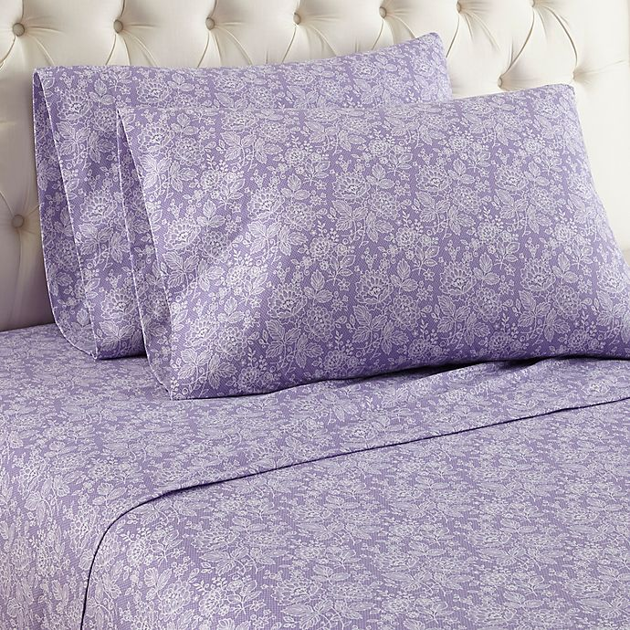 Alternate image 1 for Micro Flannel® Violet Print Queen Sheet Set in Purple
