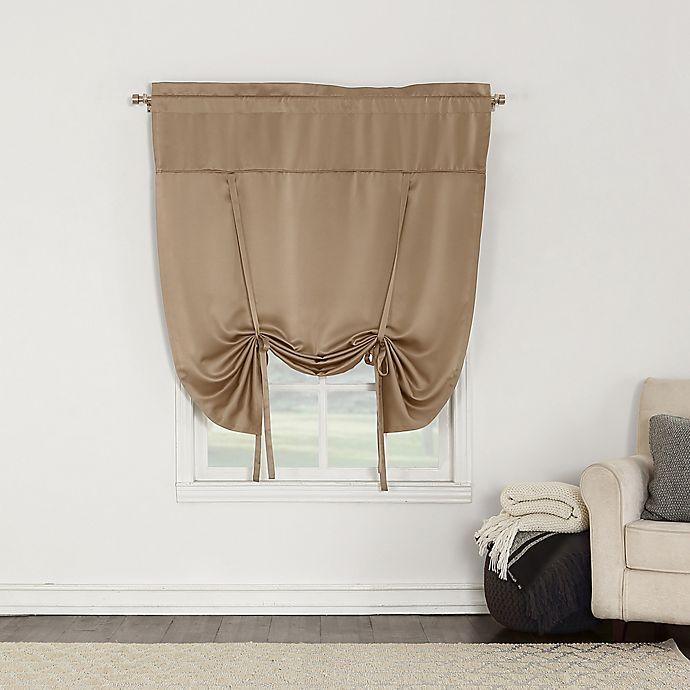 Alternate image 1 for Sun Zero Bella 64-Inch Room Darkening Tie-Up Window Shade in Taupe