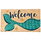 Welcome  Mermaid 16-Inch x 28-Inch Coir Multicolored Door Mat with Glitter