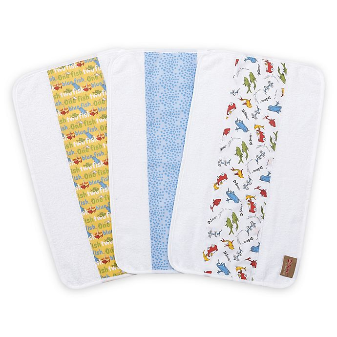 Alternate image 1 for Trend Lab® Dr. Seuss One Fish, Two Fish 3-Pack Jumbo Burp Cloth Set