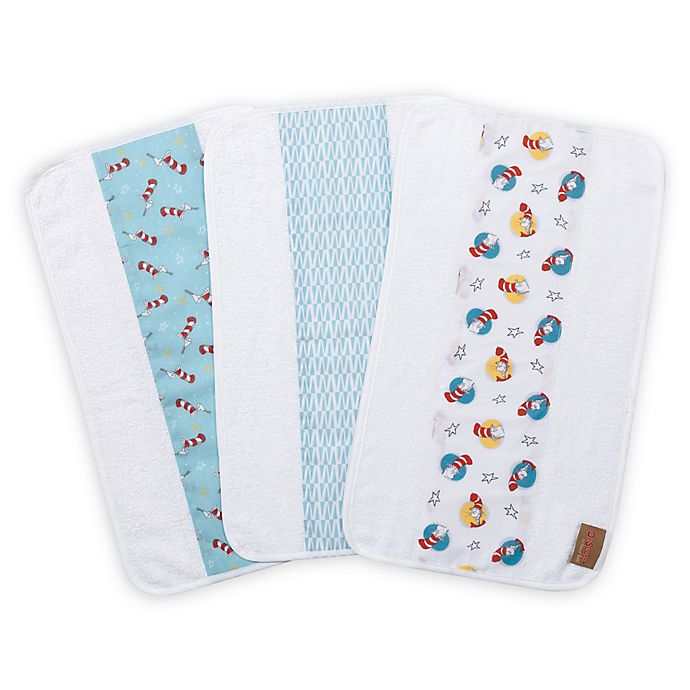 Alternate image 1 for Trend Lab® Dr. Seuss Cat in the Hat 3-Pack Jumbo Burp Cloth Set