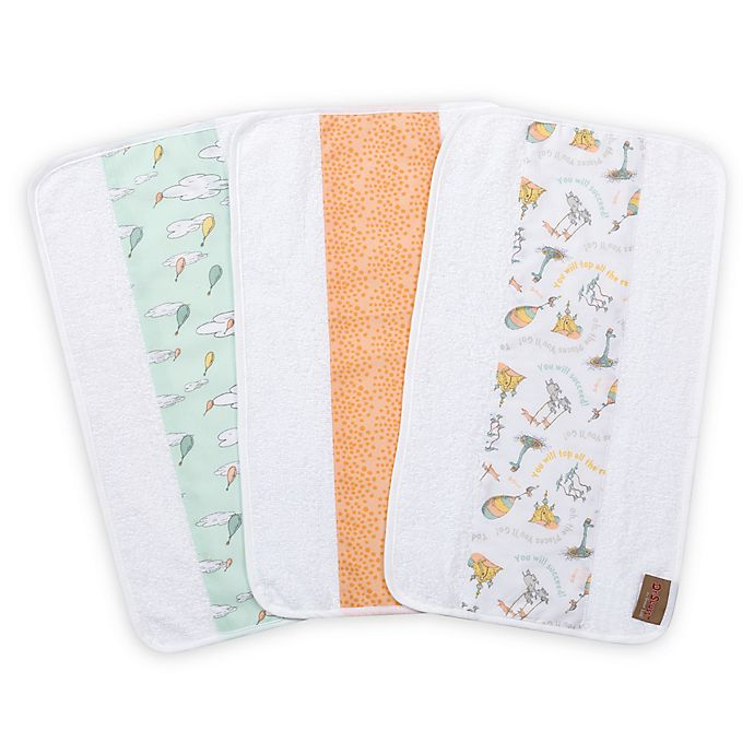 Alternate image 1 for Trend Lab® Dr. Seuss Oh, The Places You'll Go! 3-Pack Jumbo Burp Cloth Set