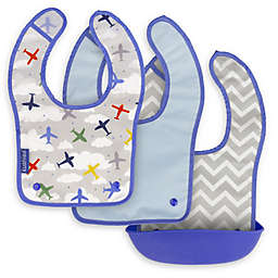 Kushies Silisnap 3-Pack Bib Set in Blue