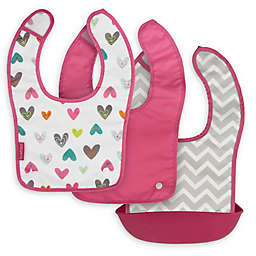 Kushies Silisnap 3-Pack Bib Set in Fuchsia